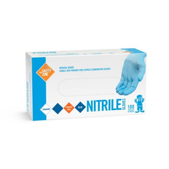Blue Powder Free Nitrile Medical Grade Gloves (Medium)