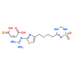 2-(4-(((2-(1,1-dioxido-3,4-dihydro-2H-1,2,4,6-thiatriazin-5- yl)ethyl)sulfanyl)methyl)-1,3-thiazol-2-yl)guanidine maleate
